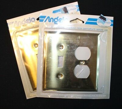 Angelo Bright Brass Toggle & Double Outlet Wall Plate -Vintage Style-NEW