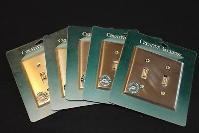 Creative Accents Bright Brass Double Toggle Wall Plate -Vintage Style-  NEW