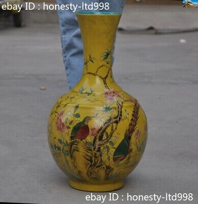 Old China Yellow Glaze Wucai porcelain Flower Bird Lucky Zun Bottle Pot Vase Jar