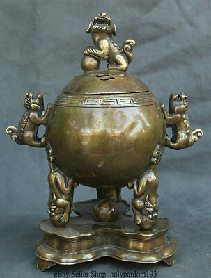 "12"" Chinese Bronze Qian Long Dynasty Palace 3 Lions Base Incense Burner Censer"