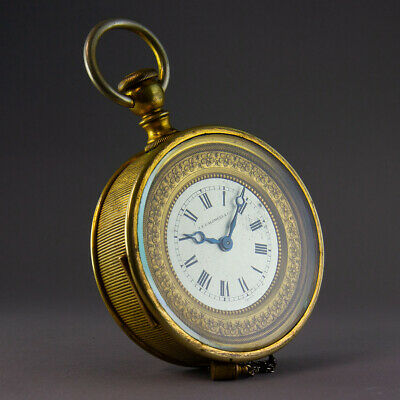 🎁 1926 Christmas Gift J.e Caldwell Watch Shape 8 Day Repeater Bed Side Clock🎄