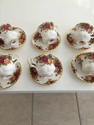 Vintage Royal Albert Six Small Coffee Cups & Saucers Old Country Roses Pattern