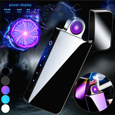 USB Electric Rechargeable Dual Arc Flameless Windproof Plasma Lighter with Box