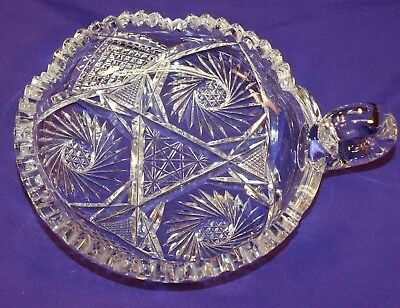 Beautiful Abp American Brilliant Cut Glass Nappy Bowl W/ Handle Buzzsaw