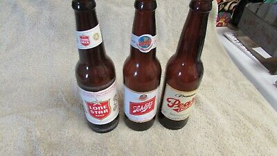 Vintage THREE Long NeckS  Labelled LONE STAR PEARL SCHLITZ Beer Bottles