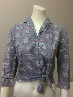 Original Vintage 50s 60s Top Blouse Mountain Garden Print ,M, Pinup Rockabilly