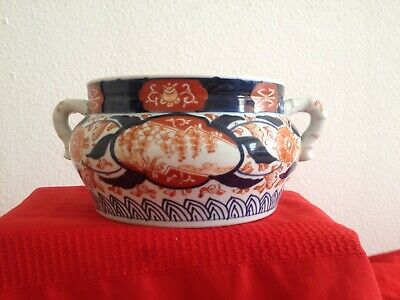 Large late 19 to early 20th cent Japanese imari porcelain incense burner handled