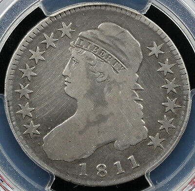 1811 50c Small 8 Capped Bust Half Dollar PCGS SECURE SHIELD F DETAILS CLEANED