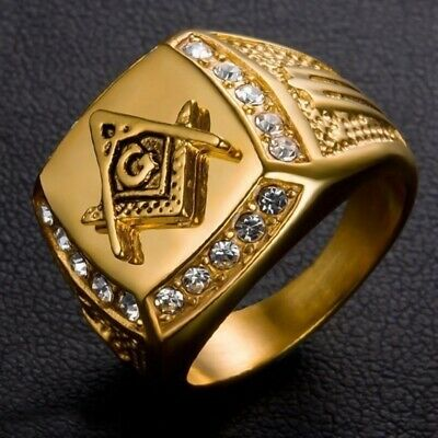 2019 Masonic Freemason's Band 18K Gold Plated Stainless Steel Ring Lldty F7H9