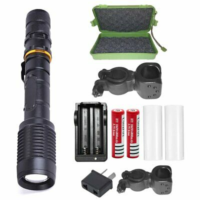 20000LM SHADOWHAWK LED Black FLASHLIGHT RECHARGEABLE TACTICAL TORCH 2x BATTERY