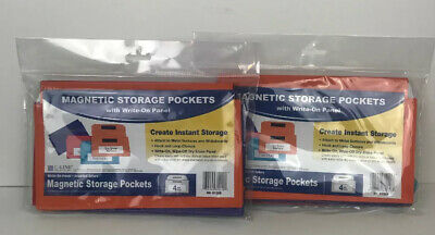 2 Sets Of Learning Resources Magnetic Storage Pockets - 4 Pockets Per Set NEW