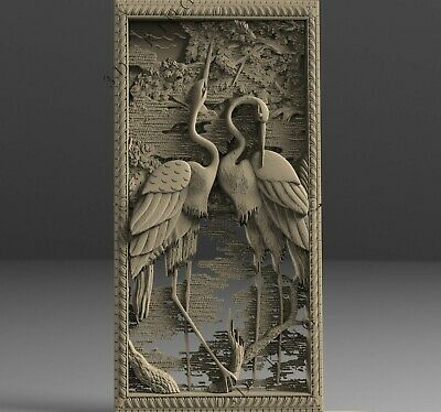 3D STL Model # TWO HERONS # for CNC Aspire Artcam Carving Engraver ASPIRE ROUTER