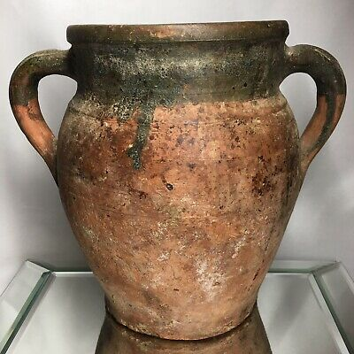 Antique 19Th Century Terracotta Redware French Confit Pot With Unusual Form