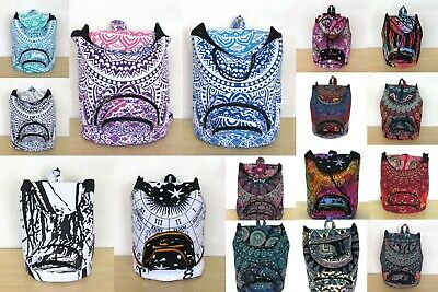 50 Pcs Wholesale Lots Indian Man Woman Backpack Cotton Fabric Hippie Sport Bags
