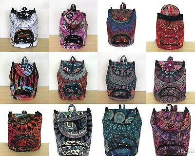 Wholesale Lots Indian Man Woman Backpack Cotton Fabric Hippie Sport Bags 25 Pcs