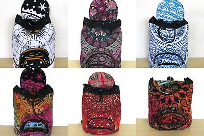 10 Pcs Wholesale Lots Indian Man Woman Backpack Cotton Fabric Hippie Sport Bags