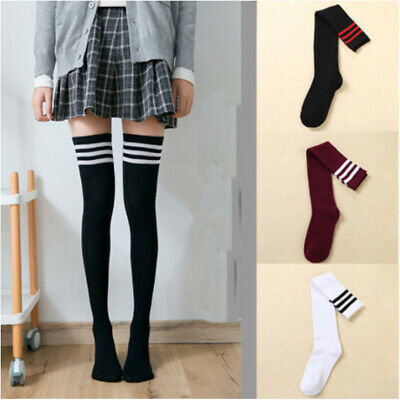 Girls Ladies Thigh High Over the Knee Socks Warm Striped Long Cotton Stockings
