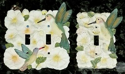 White Flowers Hummingbird Ceramic 3D Double & Single Switch Plate Cover Set Pair