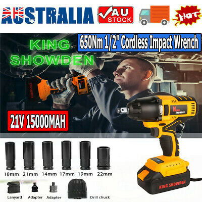 "New 650N Lithium Cordless Impact Wrench Li-ion 1/2"" Drive Ratchet Rattle Nut Gun"