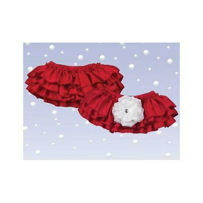 Baby Blooms Diaper Cover (Red) Ruffled Bottoms Removable Flower for Easy Wash