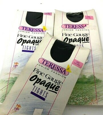 Girls Vintage Nylon Black TERESSA OPAQUE TIGHTS x 3 Pairs AGE 2-4 Years NEW