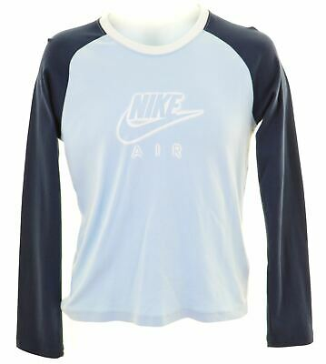 NIKE Girls Graphic Top Long Sleeve 13-14 Years XL Blue Cotton  NE31