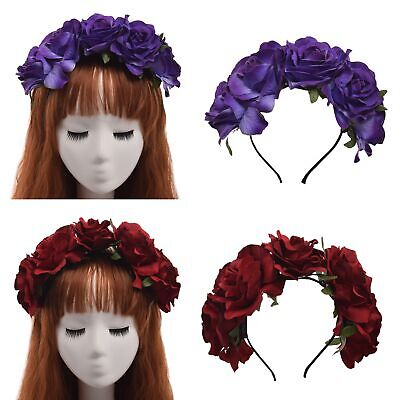 Lolita Girls Rose Flower Hair Band Crown Garland Wedding Party Hair Ornaments