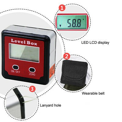 2 Key Electronic Digital Inclinometer Slope Meter Level Protractor Angle Box