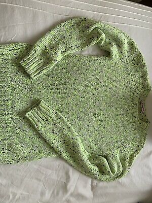 Girls Bright Yellow Lime Green Jumper 11-12 Years