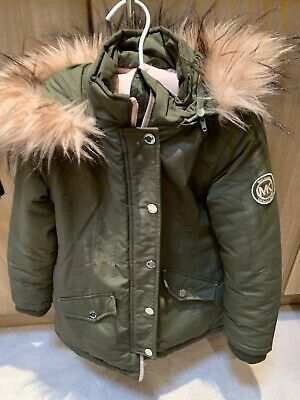Michael Kors Khaki Parka Coat Pink Faux Fur Removable Hood Age 5-6 Yrs Vgc
