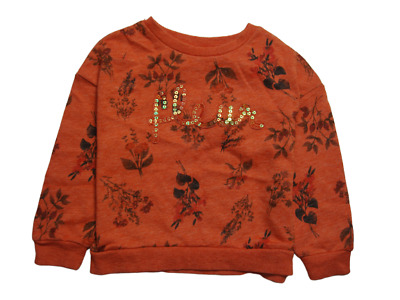 Next Girls' Orange/ Rust Floral Crew Top Sequin 3 Years 6 Years 7 Years