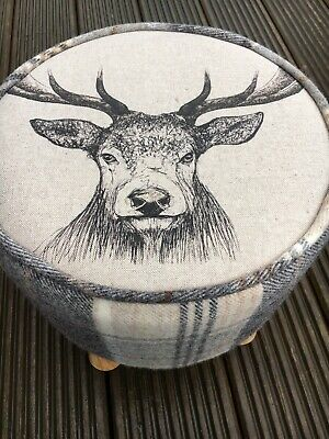 TARTAN FOOTSTOOL - with Stag's Head & Abraham Moon Huntingtower, colour:'taupe'