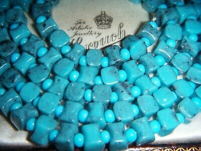 "Art Deco Egyptian Revival Mottled Turquoise Glass Bead 32"" Long Vintage Necklace"
