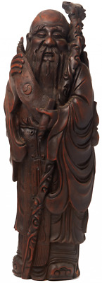 19th Century Bamboo Root Carving of Shou Lao
