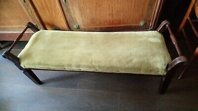 Antique Edwardian Long Footstool, Low Stool