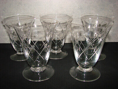 Ancien verre art deco x 5 - Eau Vin Raisin Vigne Alcool - Old glass (n°71)