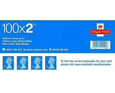 100 X 2nd Class Postage Stamps NEW GENUINE Self Adhesive Stamp Booklet