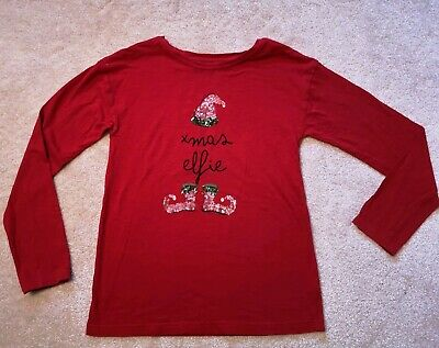 NEXT Girls Red Christmas Long Sleeve Top Sequinned Elf Motif Size 12 Years