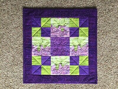 Checkerboard Spring Wall Quilt In Purples/Greens