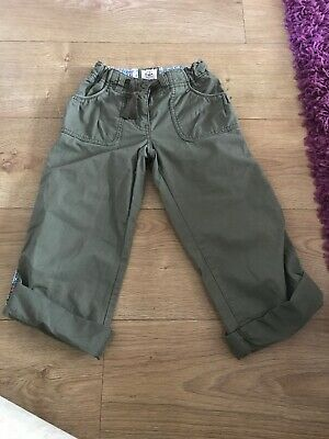 Girl's Green Mini Boden Trousers Size 7 Years - Adjustable Waist