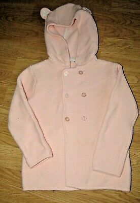 Little White Company, Pink, Double Breasted, Hooded Knitted  Coat 3-4 Bnwot