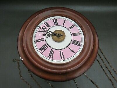 Antique wooden Lovejoy Postmans alarm wall clock for restoration with pink dial