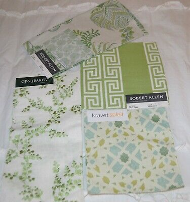 Variety Sizes of Discontinued Green Fabric Samples for Sewing