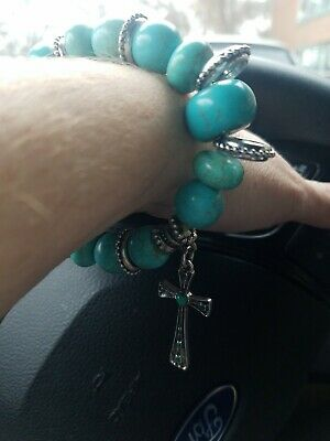 Big Chunky Genuine Turquoise Stone Bracelet With Dangle Silver Tone Cross...