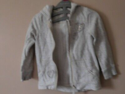 Girls grey marl hoodie jacket 5-6 years Hearts Nutmeg