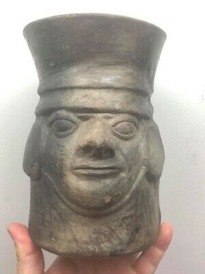Rare Moche Pre-Columbian Double Human Head Effigy Vessel Mexico Peru