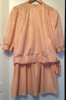 LADIES VINTAGE SKIRT SUIT SIZE 14 PEACH NUDE 1980s GOLDEN GIRLS MIDI SKIRT