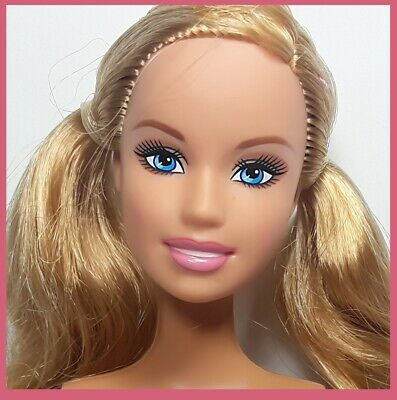 Nude Barbie Belly Button Body Strawberry Blonde Hair Pigtails & Blue Eyes