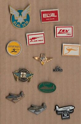 Vintage KLM Airlines Logo pin badge Royal Dutch Aircraft Airplane