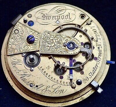 Early Thomas Russell Liverpool Jewels Fusee Lever Pocket Watch Movement c1840